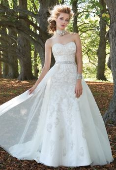 Strapless Beaded Lace with Tulle Overskirt from Camille La Vie