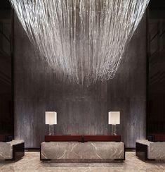 Lobby Reception - Four Seasons Hotel Pudong, Shanghai - Wilson Associates Hotel Lobby Design, Four Seasons Hotel, Design Exterior, Interior And Exterior, Lobby Interior, Interior Architecture, Hotel Internacional, Design Entrée, Wall Design