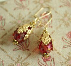 Dangle Gold Earrings. Red Teardrop Crystal. by JennyMoralesJewelry