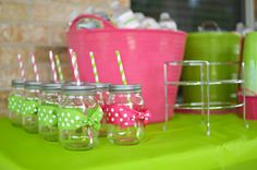 Birthday party mason jars