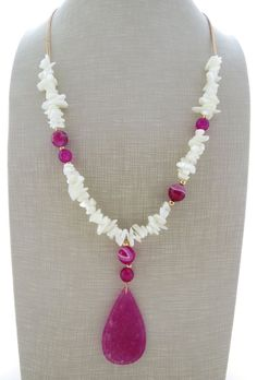 Hot pink jade necklace, pendant necklace, long agate necklace, white mother of pearl necklace, uk gemstone jewellery, boho chic jewelry by Sofiasbijoux on Etsy