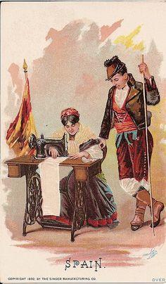 ♥Singer Sewing Machine trade card c. 1892