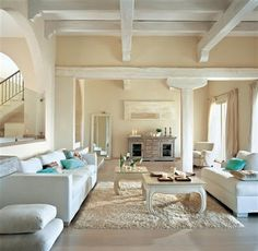 This living room is beautiful. Coastal charm
