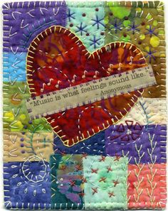 Baumcat: Crazy Quilt Art- journal page Fabric Postcards, Fabric Cards, Small Quilts, Mini Quilts, Quilting Projects, Sewing Projects, Quilting Ideas, Diy Projects, Crazy Patchwork