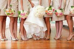 Add pink flowers to your white and green bouquets for an elegant touch.