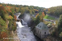 Rainbow Falls, at Ausable Chasm, and the hydro facility - near Plattsburg in upstate New York - photo from world-of-waterfalls