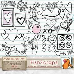 Digital Stamps: Valentine Doodles - Clip Art product from FishScraps on TeachersNotebook.com