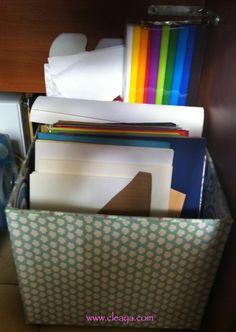 Découvrez sur mon blog, un rangement pour papiers de scrapbooking