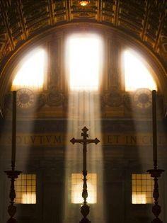 Altar in the light of Christmas Morning.(no adornment necessary) Catholic Quotes, Catholic Art, Roman Catholic, Religious Art, Catholic Priest, Les Religions, Place Of Worship, Kirchen, Belle Photo