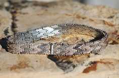"""VINTAGE MEXICAN 925 TAXCO STERLING SILVER FANCY MESH """"FLAME STITCH"""" BRACELET"""