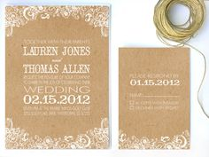 Wedding Invitation White Floral & Kraft Paper by twigsprintstudio, $2.75