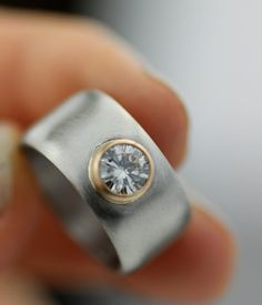 full moon moissanite and palladium wide band engagment ring - unique alternative wedding band - hers and hers - her and hers - recycled