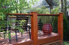 Cable railing on a patio deck keeps the lines a little freer Cable Fencing, Cable Railing, Deck Railings, Stair Railing, Stairs, Patio Yard Ideas, Backyard Landscaping, Porch Ideas, Horse Fencing