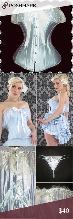"""Cinderella Corset Top w/white lace & pearls NWTs💖 Perfect for a Cinderella Halloween costume or simply stunning to wear just with light jeans for a hot date! Romantic & pretty baby blue corset with white lace and pearl dangles. This corset has steel and poly boning and will bring your waist in to a lovely hourglass silhouette! Corset has lacings that makes it adjustable to a range of sizes.  Large fits bust 36""""-38"""", waist 28""""-30 and hips 38""""-40"""".  New with tags! Intimates & Sleepwear…"""