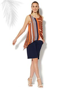 NY&Co Striped Chiffon Sleeveless Trapeze Top - * cute summer tank outfit *