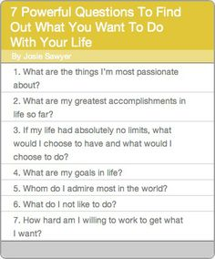 7 Powerful Questions To Find Out What You Want To Do With Your Life