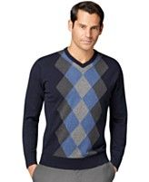 Van Heusen Sweater, Argyle V-Neck Sweater