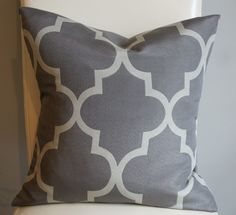 Decorative Lattice Designer Pillow Cover - Grey Lattice - 16X16 - Print on Both Sides. $32.00, via Etsy.