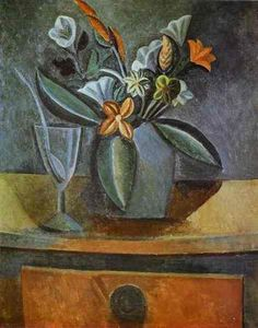 Pablo Picasso, flowers in a grey jug and wine glass with spoon -1908 on ArtStack #pablo-picasso #art