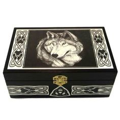 Black Wooden Celtic Wolf Box / Origional Artwork Pen and Ink / Wolf Totem Animal / Tarot Box / Crystals Trinkets Jewelry Gothic Magic Wolf Totem, Dragon Star, Wolf Images, Wolf Jewelry, Wolf Design, Animal Totems, Celtic Designs, Jewellery Storage, Decorative Boxes