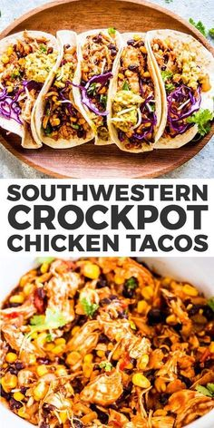 Southwestern Crockpot Chicken Tacos are so easy to make, you'll wonder why you haven't been making them all along! It will cook in your slow cooker all day long, then shred into tender Mexican chicken you can serve up with taco shells, guacamole and Crock Pot Recipes, Crockpot Dishes, Healthy Chicken Recipes, Healthy Dinner Recipes, Beef Recipes, Cooking Recipes, Healthy Crockpot Chicken Recipes, Easy Chicken Meals, Healthy Chicken Tacos