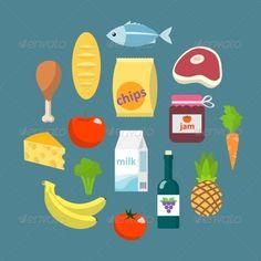 Vectors - Online Supermarket Foods Flat Concept | GraphicRiver