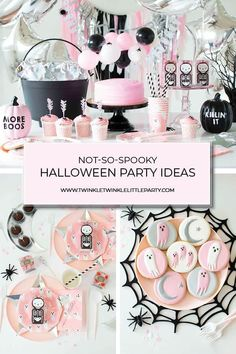 A Not so Spooky Pink Halloween Party for the kids Nicht so gespenstische rosa Halloween-Party Halloween Tags, Halloween First Birthday, Pink Halloween, Halloween Party Supplies, 3rd Birthday Parties, Halloween Party Decor, Halloween Themes, Happy Halloween, 2nd Birthday