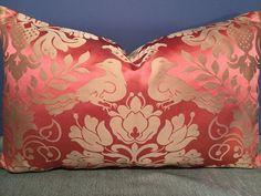 """SCALAMANDRE Love Bird Melon & Bronze Damask 100% Silk Lumbar pillow, 12"""" x 19"""""""