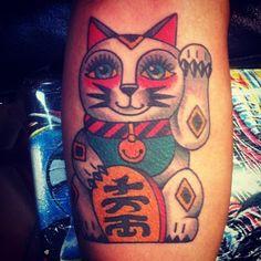 Lucky cat tattoo by Ryan Brown | All Star Tattoo 8601 Olive Blvd, University City MO 63132 (314) 692-7827 #traditionaltattoo #luckycat  #allstartattoo
