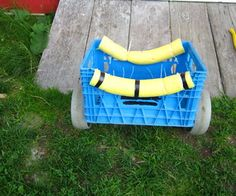 This is a super cheap super easy canoe cart I made for portaging our canoe. It is made out of a large milk crate,a golf bag caddy,a pool noodle,and zipties. It wa. Kayak Boats, Kayak Camping, Canoe And Kayak, Kayak Fishing, Kayaking Gear, Canoe Trip, Ocean Kayak, Van Camping, Saltwater Fishing