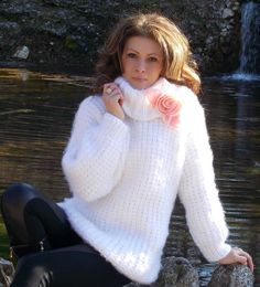 Thick Sweaters, Cozy Sweaters, Angora Sweater, Skinny, Sweater Outfits, Hand Knitting, Knitwear, Autumn Fashion, Turtle Neck