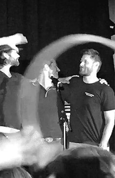 thedoctorsjawn: not saying cockles but. Cockles, Jared Padalecki, Misha Collins, Destiel, Jensen Ackles, Supernatural, Two By Two, Folk, Dads