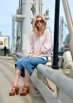 Summer to Fall Transitional Style Sweater and Culottes  Outfit Details on Mermaid Waves - Style Blog