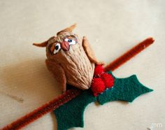 MirandaMade: Owl Walnut Ornament