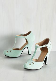 The Zest Is History Heel in Mint - Mint, Solid, Cutout, Embroidery, Vintage Inspired, 40s, Pastel, Darling, Good, T-Strap, High, Exclusives, Colorsplash, Bride, Wedding