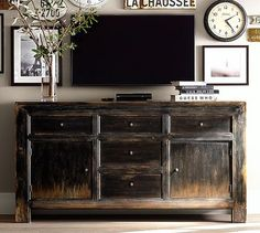 living room storage: Cool idea of having a rustic buffet type piece as your TV stand/media console. Still hides everything and keeps them out of reach of small destructive hands. Pottery Barn, Home Living Room, Living Room Decor, Dining Room, Rustic Buffet, Home Interior, Interior Design, Furniture Upholstery, Furniture Plans