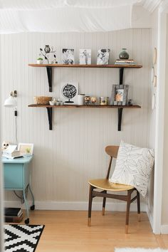 Dwell Beautiful pretties up some bland Ikea wood shelves to add to her master bedroom as a place for trinkets and treasures! Make wood shelves pretty with stain! Decorating Your Home, Diy Home Decor, Decorating Ideas, Neutral Bedroom Decor, Bedroom Ideas, Decorative Shelf Brackets, Pine Shelves, Shelves In Bedroom, Ideas