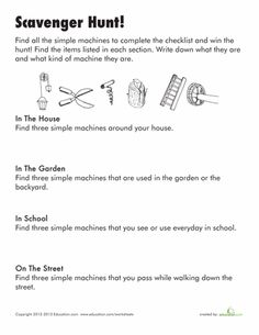 Worksheets: Simple Machines Scavenger Hunt