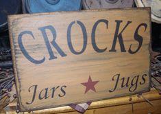 CROCKS JARS JUGS  STARS PRIMITIVE SIGN SIGNS