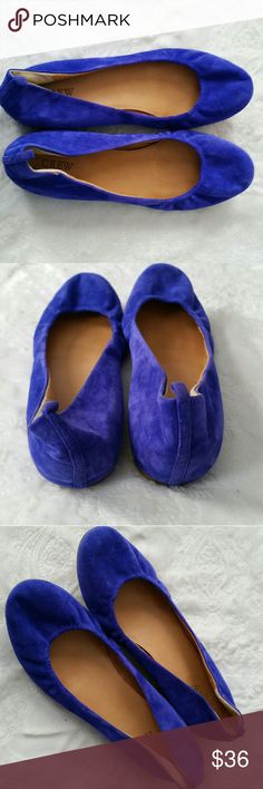J. Crew Blue Suede Ballet Flats These gorgeous flats are a soft suede-like material. Worn once. Only flaw is two small spots on the side ( shown in 4th photo). Bright blue. Size 9.5. Very sturdy good quality material, not flimsy. J. Crew Shoes Flats & Loafers