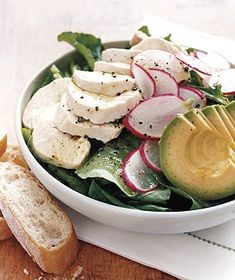 Arugula Salad With Chicken and Avocado recipe from realsimple.com #MyPlate #protein #vegetables #veggies