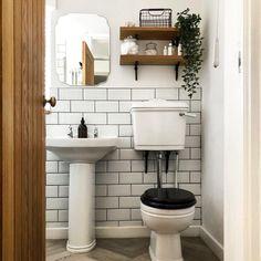 Bathroom Decor rental Bathroom tiles are metro style, white tiles with black grout. Metro Tiles Bathroom, White Bathroom Tiles, Bathroom Interior, White Tiles Black Grout, Black White Bathrooms, Small Downstairs Toilet, Small Toilet Room, Metro White, Toilet Tiles