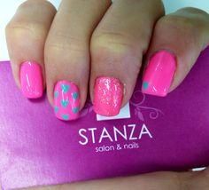 Neon Pink Nails hearts nail art in gel @stanzasalon