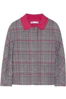 Oscar de la Renta Cropped plaid wool jacket   NET-A-PORTER