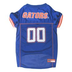 Dress your dog in this officially licensed Florida Gators Dog Jersey in the team colors and logo. This jersey is constructed of breathable cotton with micro-mesh sides and v-neck cut is stylish and co