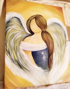 Hand Painted Gorgeous Acrylic Angel Painting by SheilaSmithDesigns