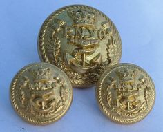 3 x RARE VICTORIA CROWN 19th CENTURY ROYAL NORTHERN YACHT CLUB FIRMIN BUTTONS