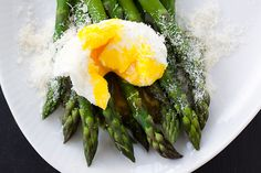 poached, with asparagus and parmesan