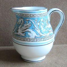 """Wedgwood Florentine Turquoise Creamer, 3"""". $28.00 at cassowary on ebay, 4/21/16"""