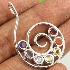 925 Sterling Silver Natural MULTI-COLOR Gemstones Spiral Designer Chakra Pendant #Unbranded #Pendant